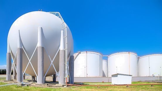 Oil and gas storage tanks in the refinery area