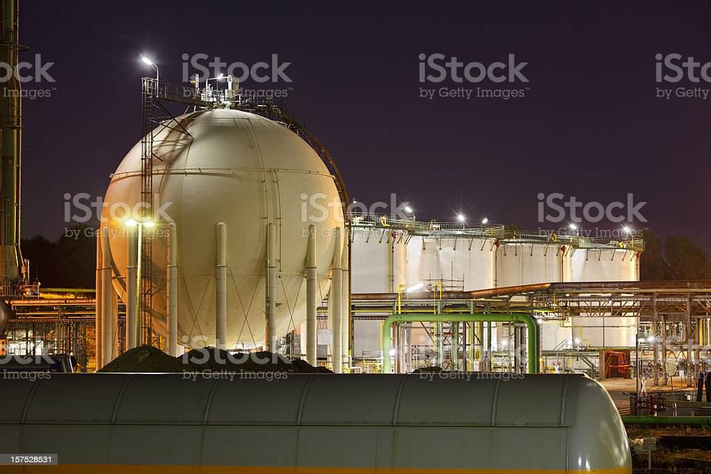 Oil And Gas Storage Tanks royalty-free stock photo