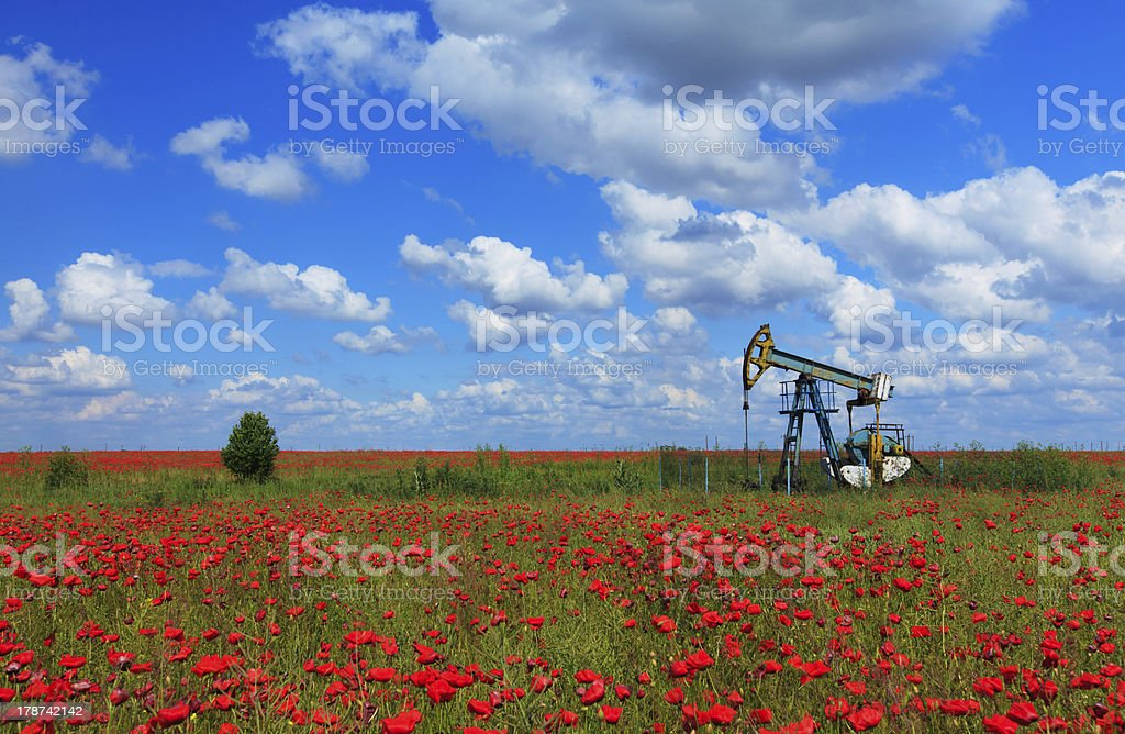 Oil and gas well structure royalty-free stock photo