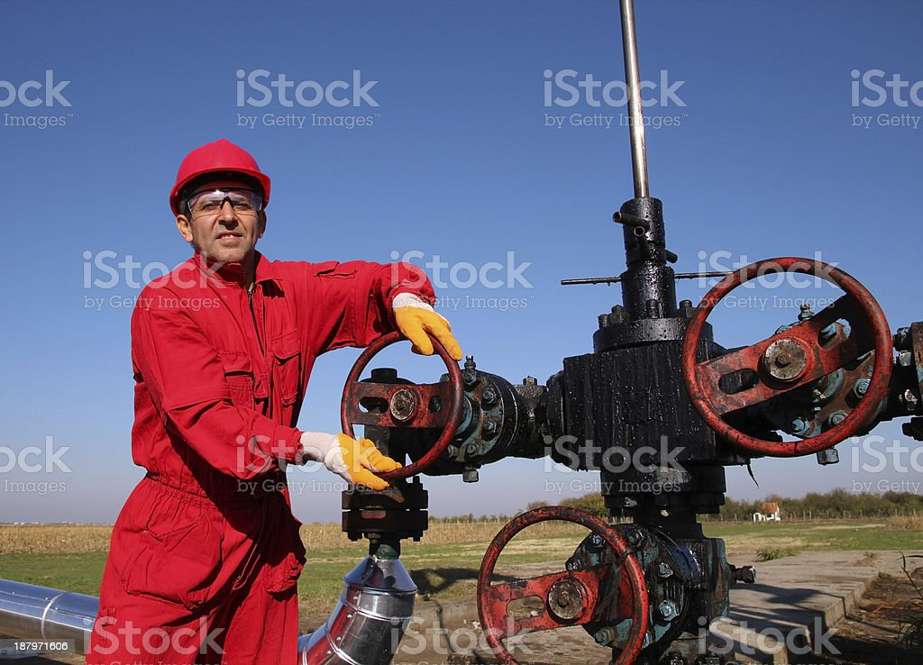 Oil and Gas Worker Wearing Protective Clothing royalty-free stock photo