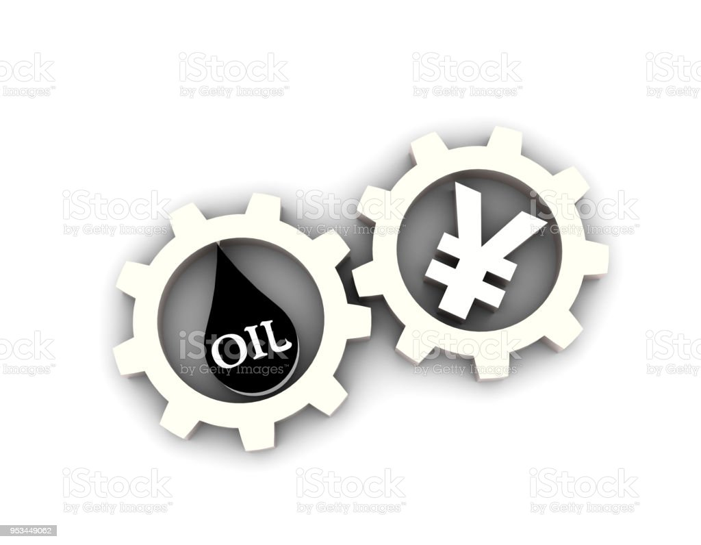 Oil And Gear Currency Symbols Represent The Buying And Selling