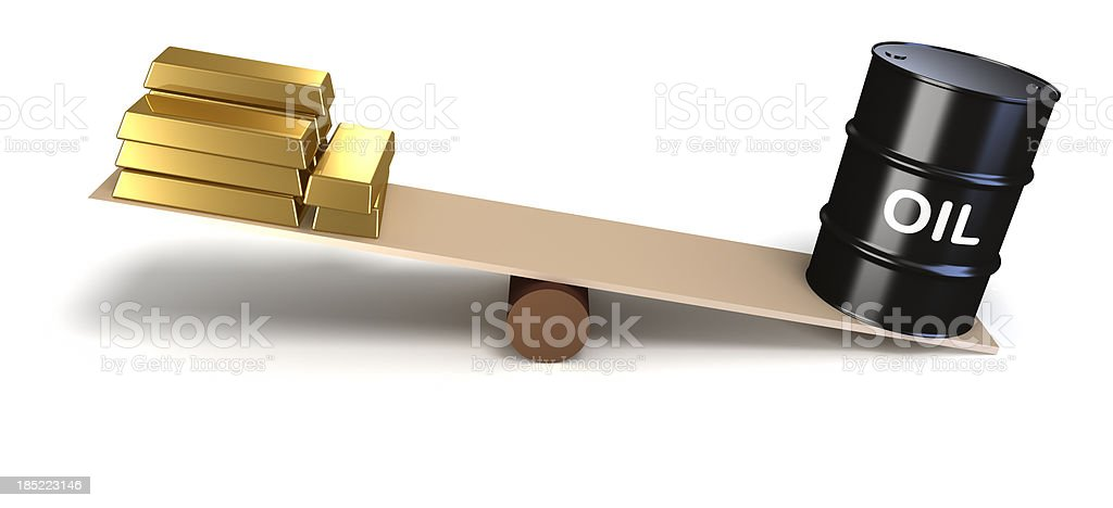 Oil and gold prices royalty-free stock photo