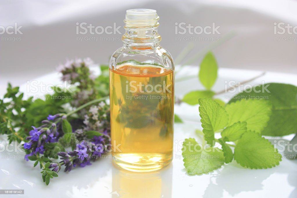 Oil and herbs stock photo