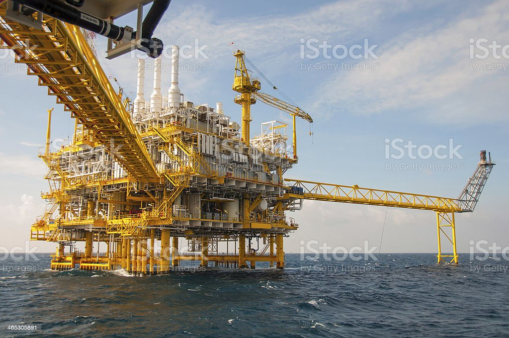 Oil and rig platform with blue sky stock photo