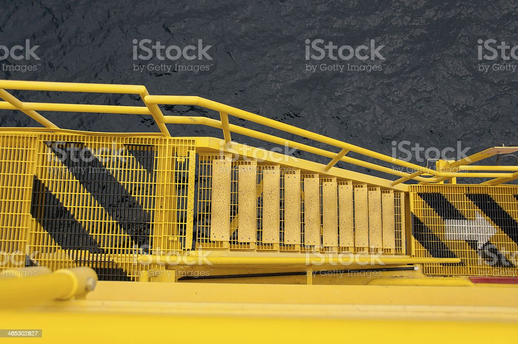 Oil and rig platform.walk way on the platfomn construction stock photo