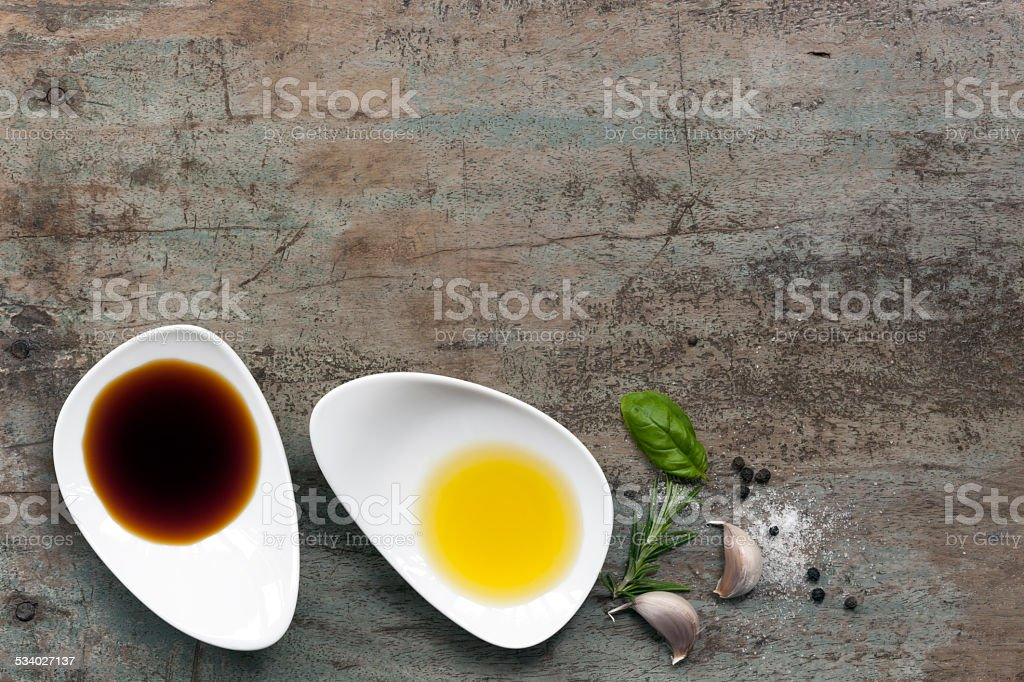 Oil and Vinegar Food Background stock photo