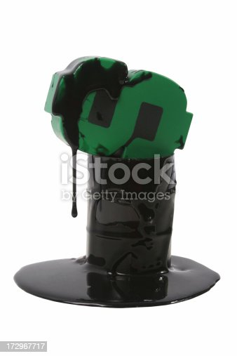 Oil barrel with dollar symbol and black oil.