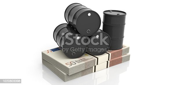 Black oil barrels on fifty euros banknotes. 3d illustration