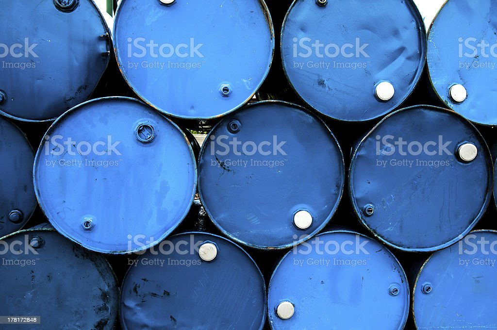 oil barrels or chemical drums stacked up royalty-free stock photo