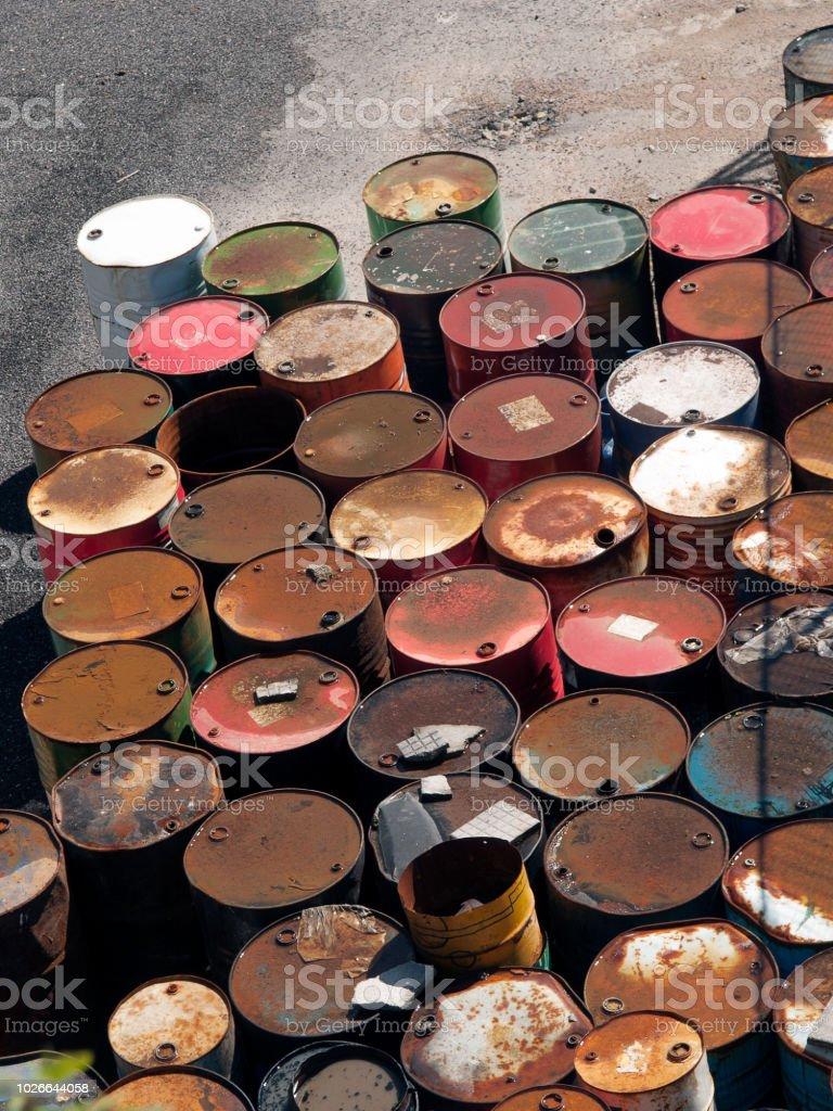 Oil barrels stored stock photo