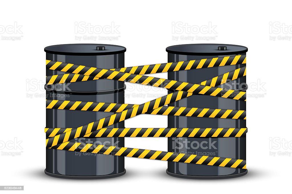 Oil barrels with danger line stock photo
