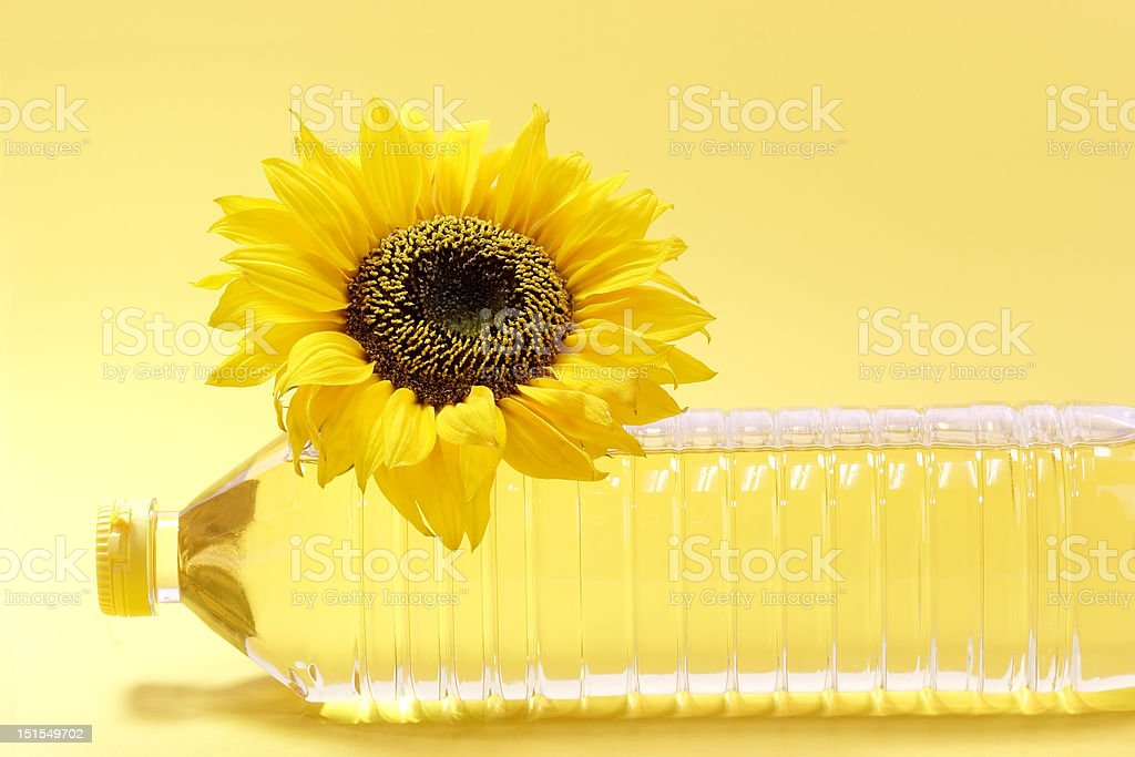 Oil bottle stock photo