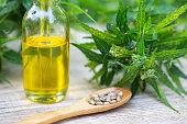 CBD oil cannabis extract, Hemp oil bottles and hemp flowers on a wooden table,  Medical cannabis concept