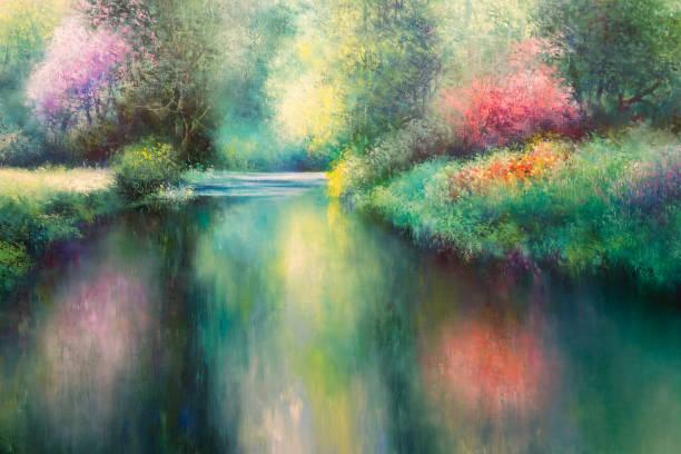 ölgemälde leinwand: frühlingswiese mit coloful natur, fluss und bäume - farbfeldmalerei stock-fotos und bilder