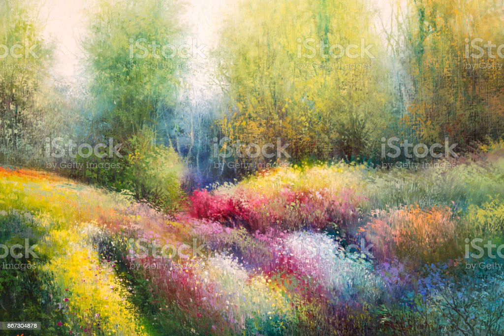 Oil Canvas Painting: Spring Meadow with Colorful Flowers and Tre stock photo