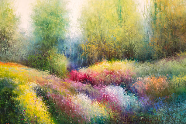 oil canvas painting: spring meadow with colorful flowers and tre - impressionist painting stock photos and pictures