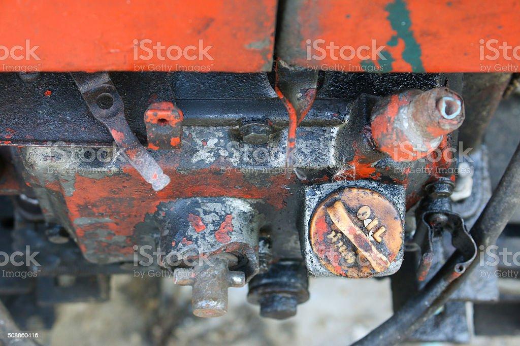oil cap mortar machine zoom up stock photo