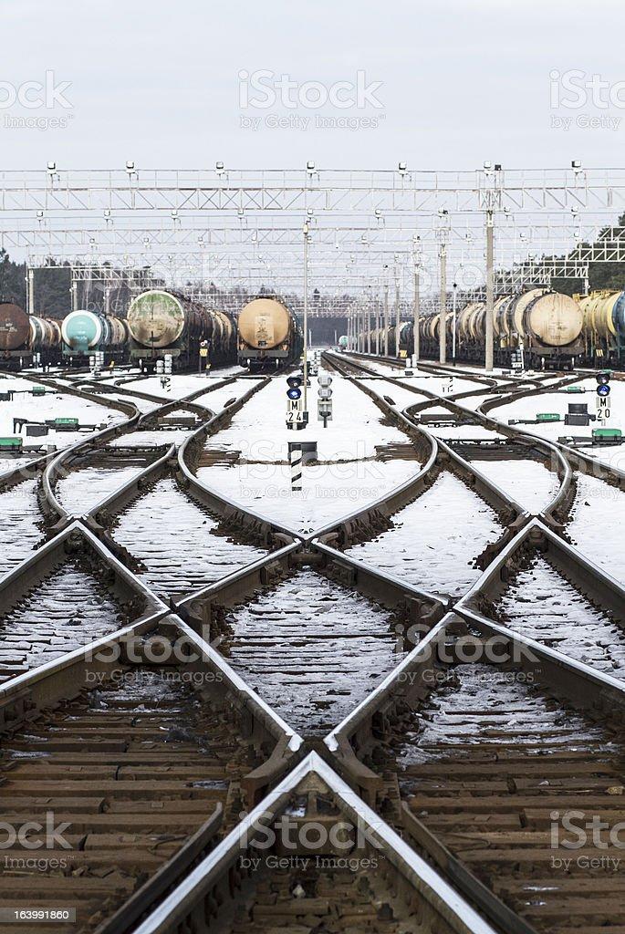 Oil cargo train transfer station royalty-free stock photo