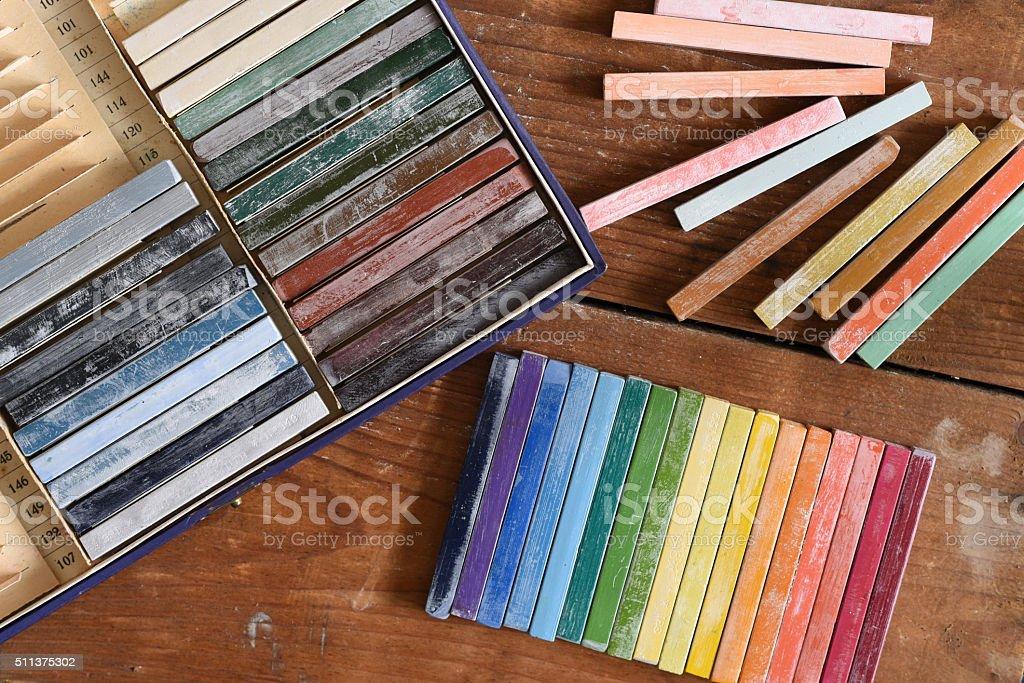 Oil chalks in box stock photo