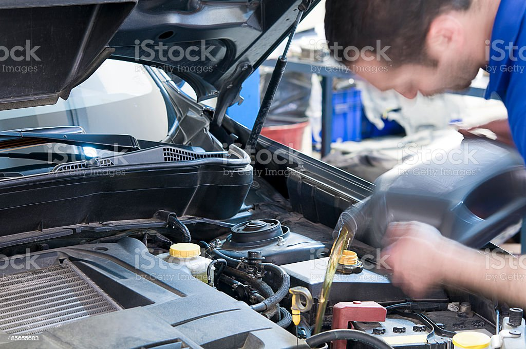 Oil Change Motion blurred stock photo