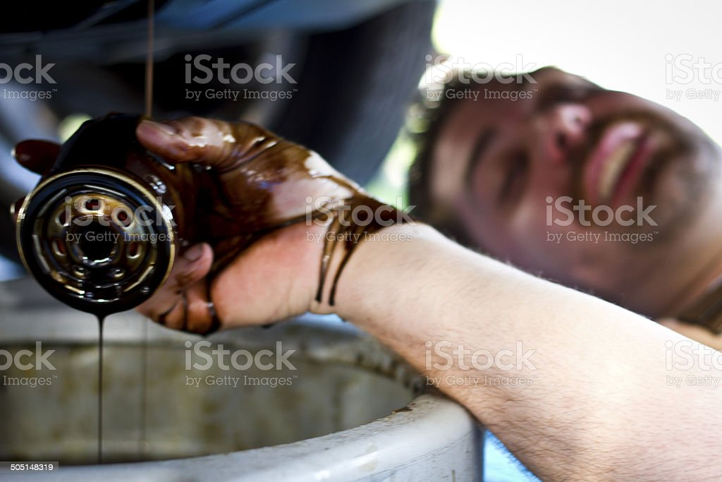 Oil Change with Mechanic stock photo