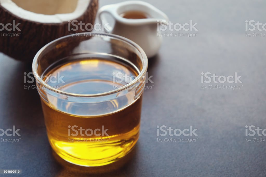 MCT oil, coconut healthy oil stock photo