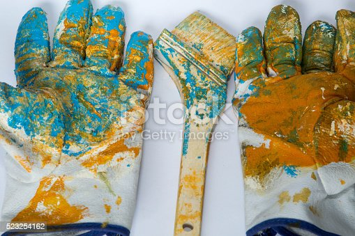 istock oil color,glove,paint brushes 523254162