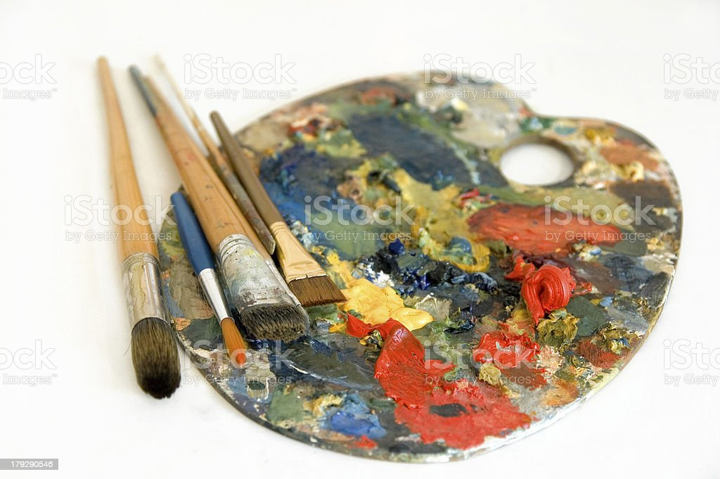 Oil colors palette royalty-free stock photo