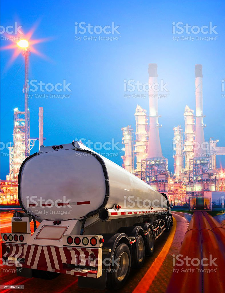 oil container truck and petrochemical refinery plant stock photo