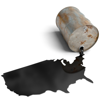 A rusty damaged oil barrel spilling oil in the shape of the USA. Very high resolution 3D render.