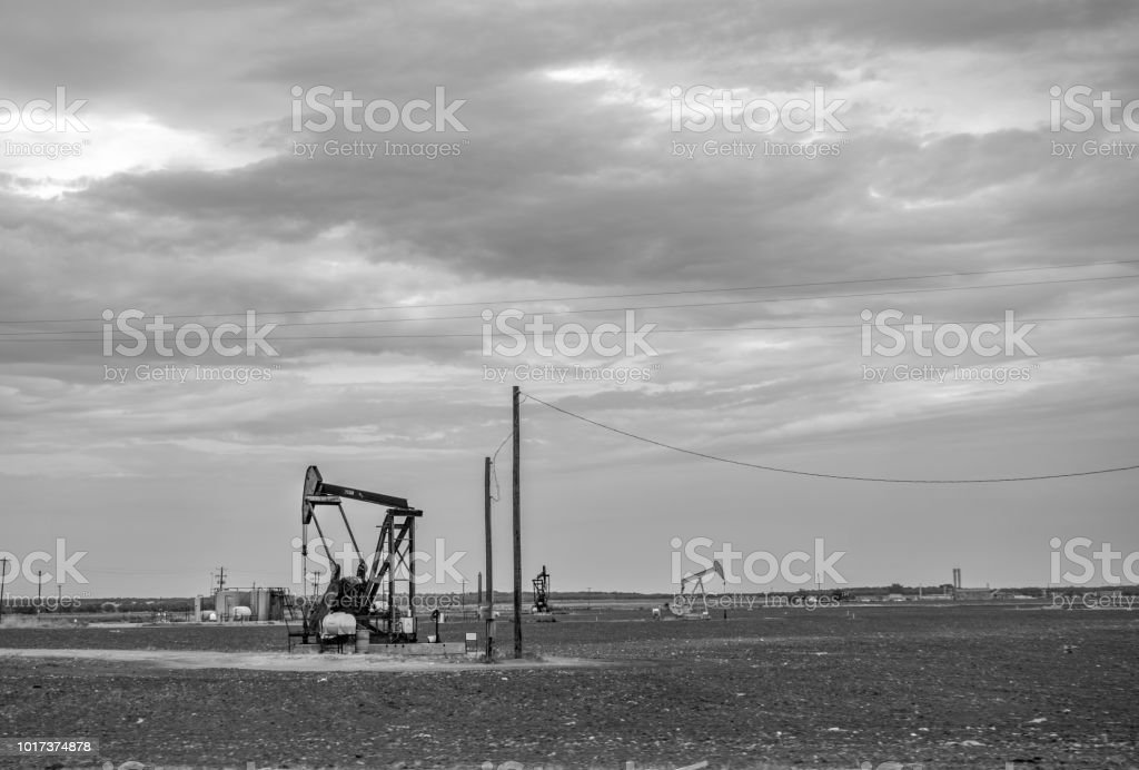 oil derrick west Texas monochrome stock photo