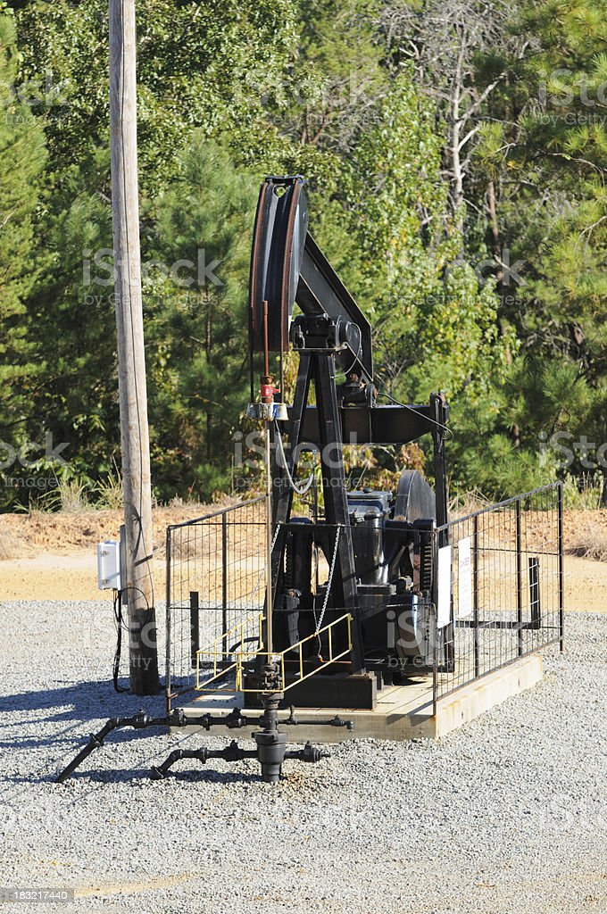 Oil drill on gravel area royalty-free stock photo