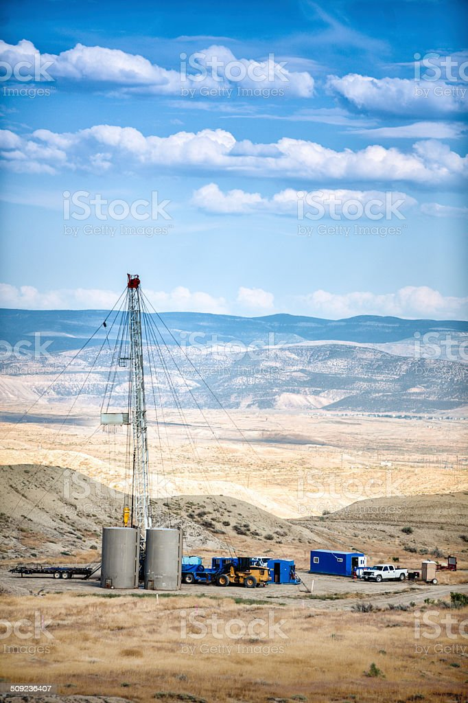 Oil Drilling Fracking Rig stock photo