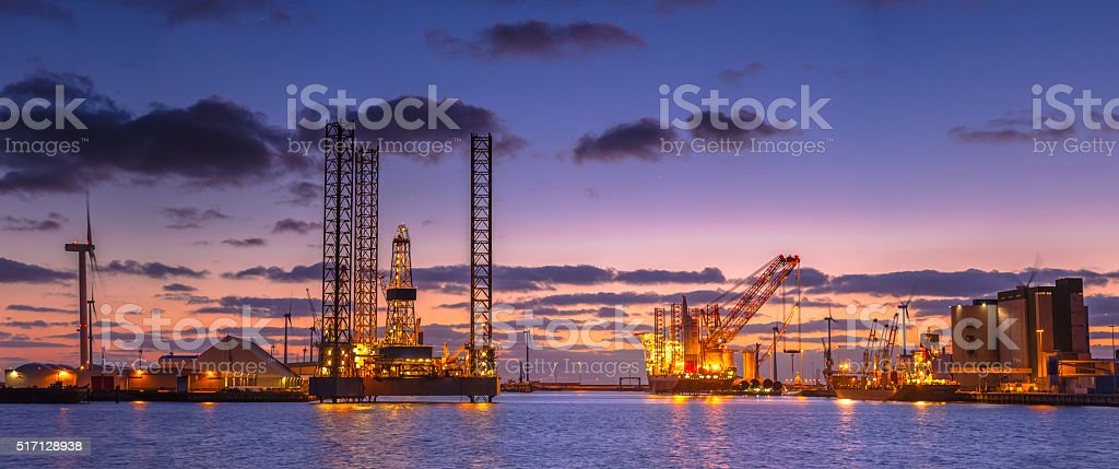 Oil drilling rig construction Panorama stock photo