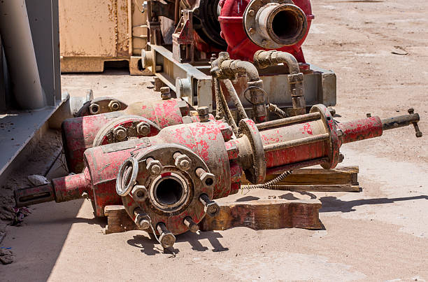Oil drilling rig equipment stock photo