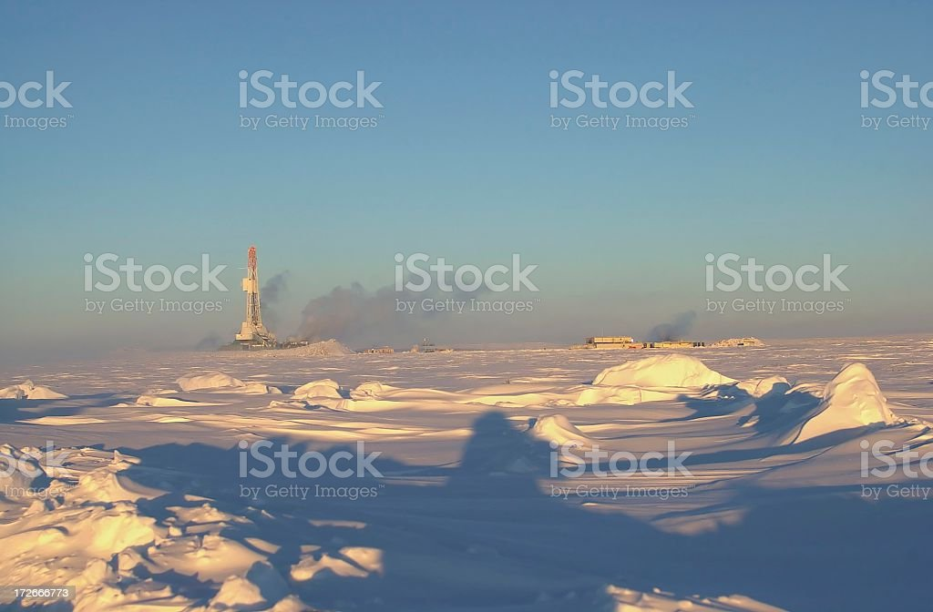 Oil drilling rig in the Arctic stock photo