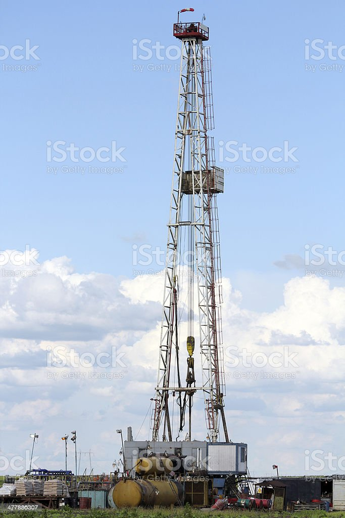 oil drilling rig machinery on field royalty-free stock photo