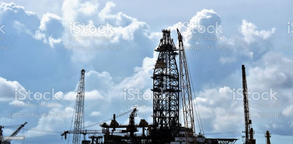 oil drilling rigs for the Gulf of Mexico stock photo