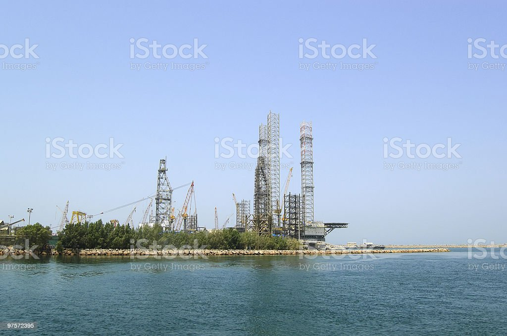 Oil drilling site at the shore, Sharjah, UAE royalty-free stock photo