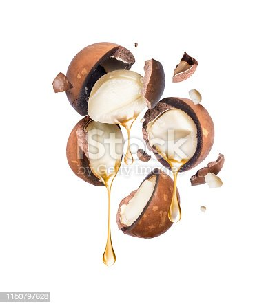 istock Oil dripping from crushed macadamia nuts on a white background. 1150797628