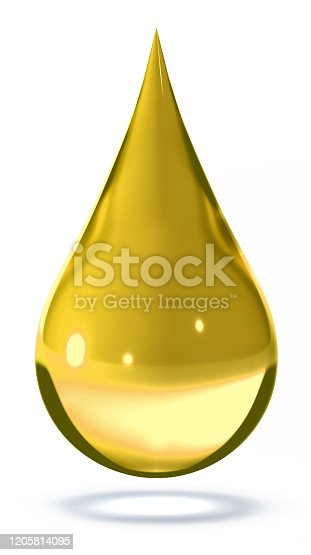 oil. drop, gold, isolated, 3d rendering, white background