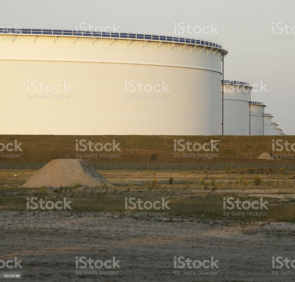 Oil drums in a harbor royalty-free stock photo