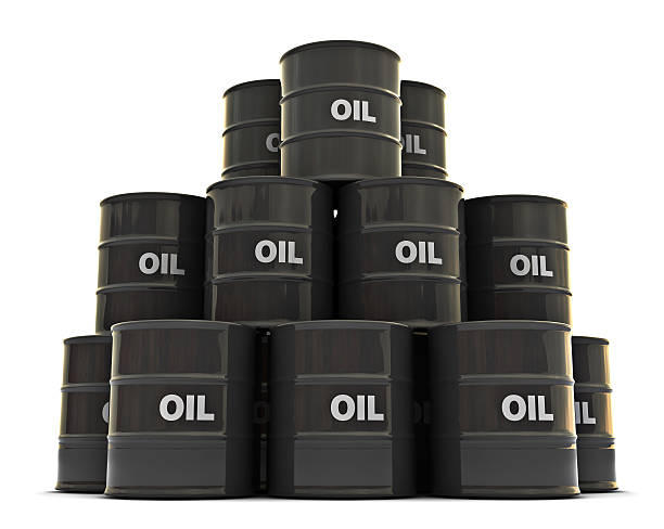 Oil drums stacked on top of each other stock photo