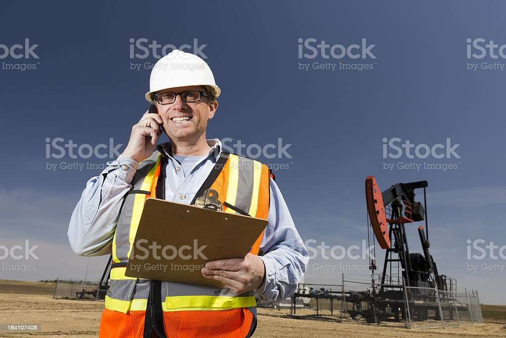 Oil Engineer on the Phone royalty-free stock photo