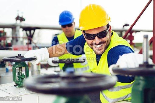 Oil engineers inside fuel industry