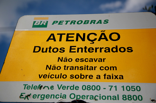 mata de sao joao, bahia / brazil - november 8, 2020: plaque indicates oil pipelines buried in Petrobras' exploration area in the city of Mata de Sao Joao.