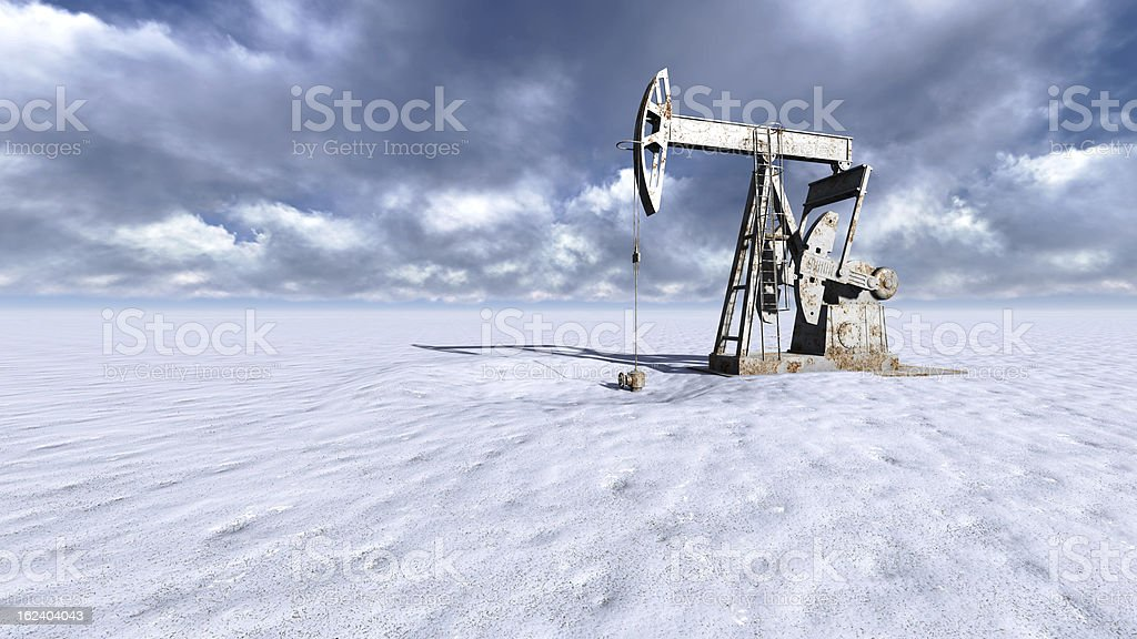 Oil field at  snow royalty-free stock photo