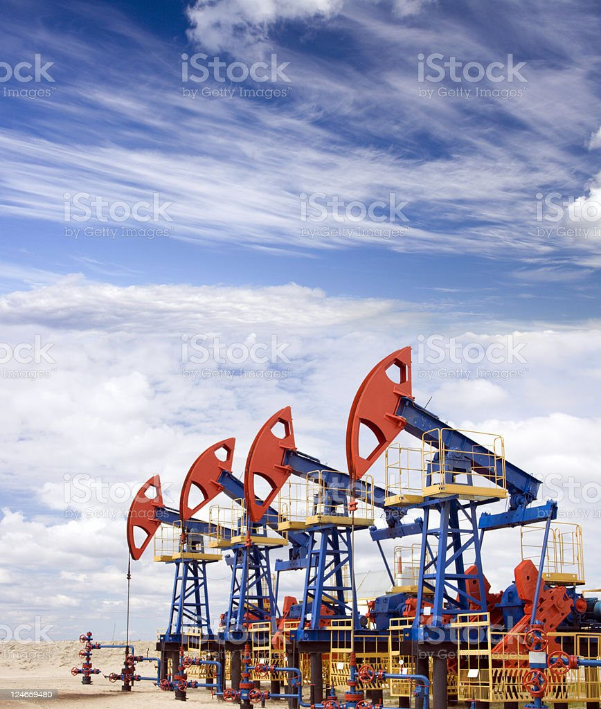 Oil field overcast royalty-free stock photo
