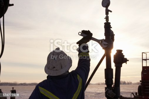 Oil Field Worker at Sunrise in the middle of winter