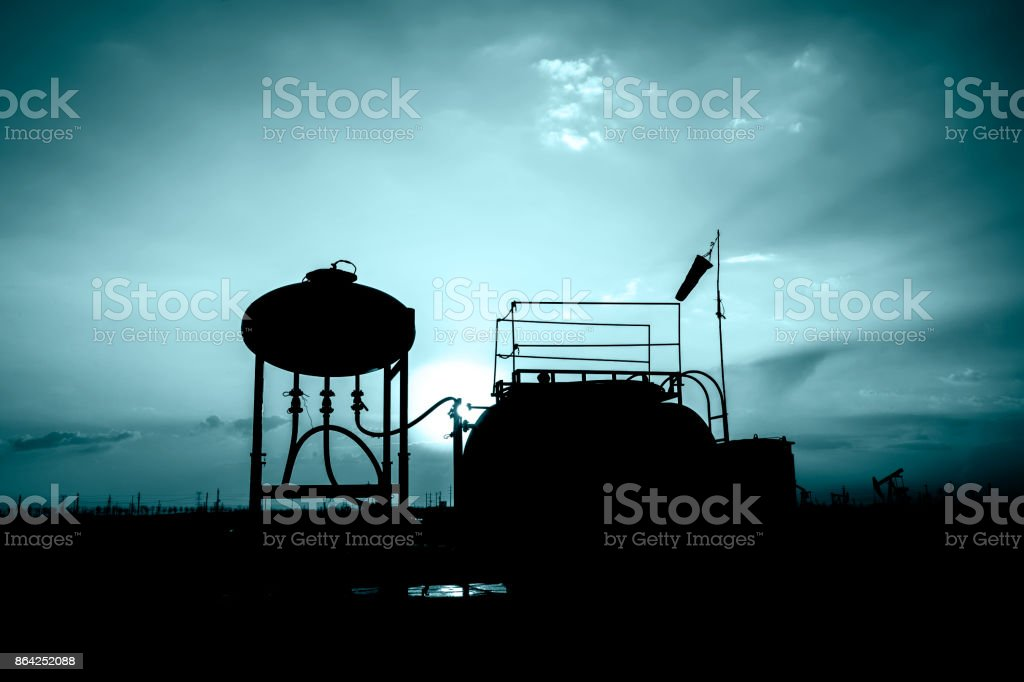 Oil fields in the evening royalty-free stock photo